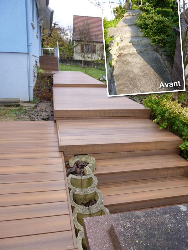 et pose de terrasses en Bois composite garanti qualité en Alsace