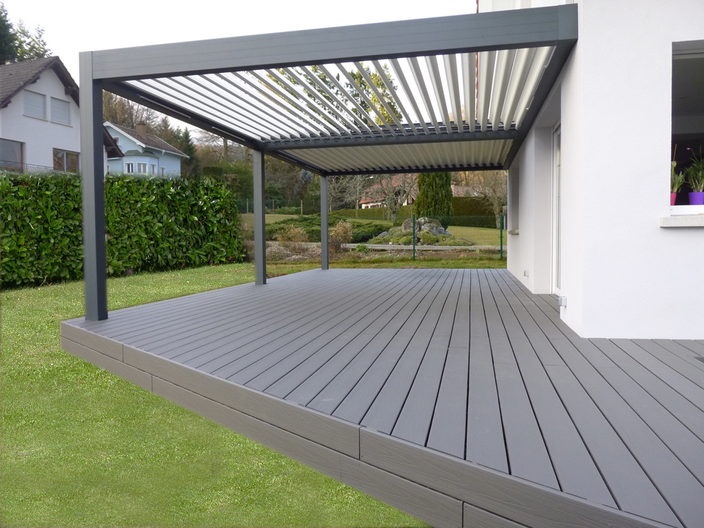 Pose de terrasse bois composite diverses id es de conception de patio en bois - Pose lame composite ...