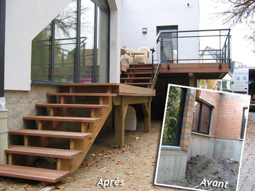 Balcon En Bois Avec Escalier : et pose de terrasses sur pilotis en bois en Alsace ? Strasbourg