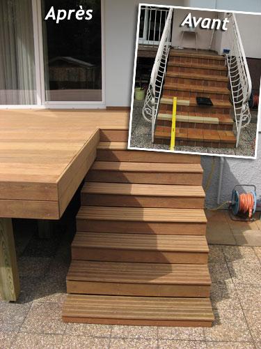 Conception r alisation et installation de terrasses en - Relooking escalier bois ...
