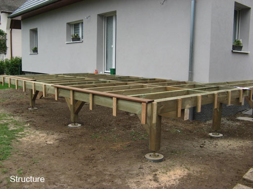photo terrasse bois composite sur pilotis