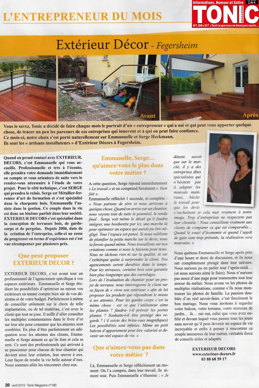 """Portrait d'Exterieur Décors, par le magazine """"Tonic"""""""